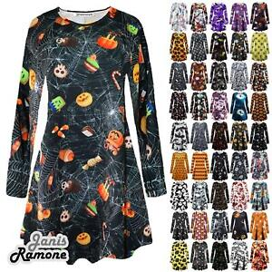 New-Womens-Halloween-Pumpkin-Moon-Bat-Web-Print-Flared-Mini-Swing-Dress-Leggings