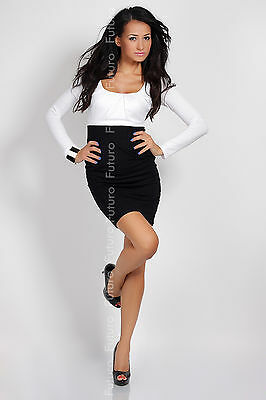 Trendy Two Colors Women's Dress Bodycon Long Sleeve Sizes 8-16 8439