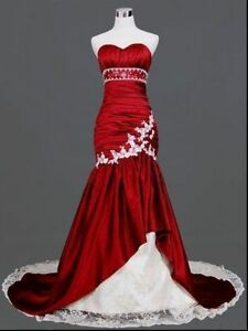 Mermaid-Gothic-White-And-Red-Wedding-Dress-Lace-Up-Sweetheart-Bridal-Gown