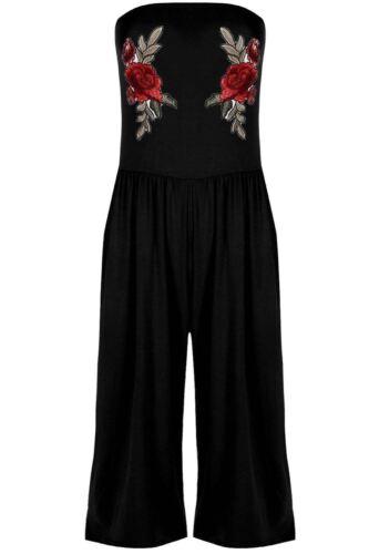 Femme Broderie Florale froncée Boobtube combinaison tout en un Culotte Combi