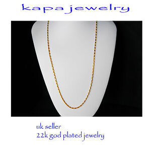 Mens Jewellery 22k Gold Plated Necklace for Men or Women Chain Indian gold a13a - London, United Kingdom - If there is problem with the item contact us by email kapadia59@hotmail.com returns are only accepted if sent in the same condition sent. NOTE BUYER PAYS FOR RETURN POSTAGE Most purchases from business sellers are protected by the - London, United Kingdom