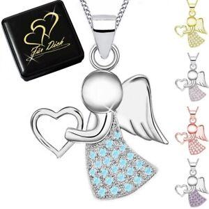 Frauen Mädchen Schutz Engel Anhänger mit Zirkonia und Kette Echt Silber 925
