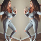 Fashion 2Pcs Set Womens Tracksuit Sweatshirt Top + Pant Trouser Sport Suit Sweat