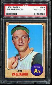 1968-Topps-Baseball-586-JIM-PAGLIARONI-Oakland-Athletics-PSA-8-NM-MT