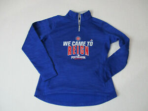 64a1d9ac1 Image is loading Majestic-Chicago-Cubs-Sweater-Size-Adult-Medium-Blue-