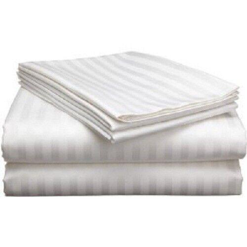 1500 Thread Count 6Pc California King White Stripe Sheet Set 100%Egyptian Cotton