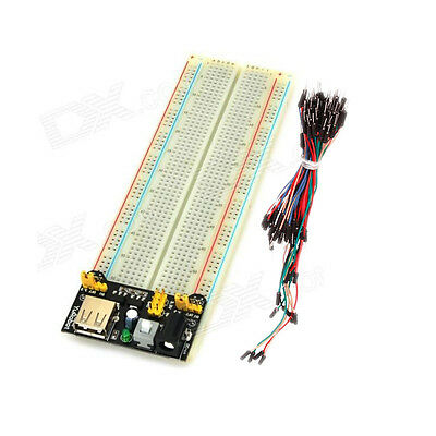 3.3V 5V Power Supply Module+830 Points Breadboard+65pcs Dupont Cable Jumper Wire
