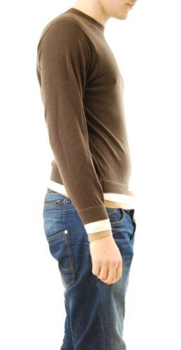 hombre D Bcf511 para £ 285 Suéter Rrp Marrón cuello larga redondo Lou oscuro Manga con Talla S Bq5Fxtwa