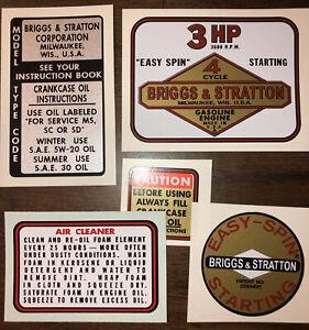 Briggs & Stratton Minibike label 3-hp old school, Set of 5