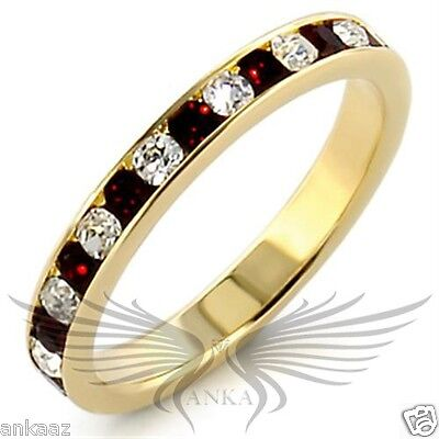 Brilliant Round Cut Top Grade Crystals Yellow Gold Plated Eternity Band LOA507