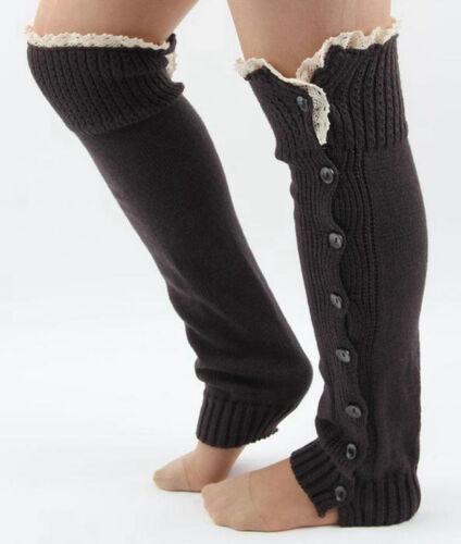 Women Crochet Knitted Leg Warmers Boot Socks Stocking Lace Trim Legging Socks YW