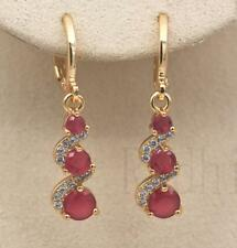 18K Gold Filled -  1.2'' Swirl Round Ruby Topaz Gemstone Wedding Dangle Earrings