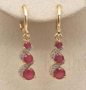 18K-Gold-Filled-1-2-039-039-Swirl-Round-Ruby-Topaz-Gemstone-Wedding-Dangle-Earrings