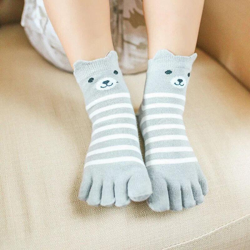 5 Pairs Kids Toes Socks Panda Printed Spot Stripe Cotton Five Fingers Socks Cute