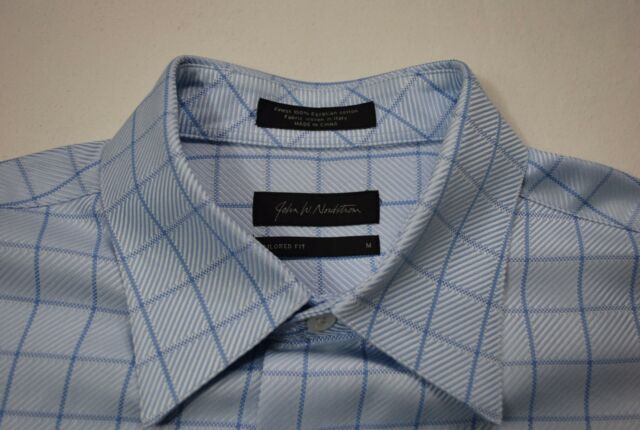 John W Nordstrom Mens Dress Shirt Blue Egyptian Cotton Tailored Fit