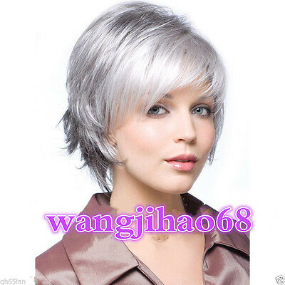 Beautiful Women lady Wig Short Straight Silver Grey Synthetic Hair Wigs