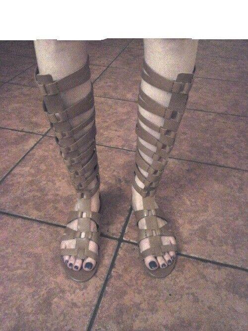 SAM Tall EDELMAN Gladiator Sandals Bryant Tall SAM Tan Strappy Flats FASHION Zip Up $200 05cf23