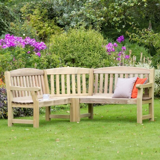 Large Outdoor Corner Bench L Shaped Wooden Garden Seat Rustic Patio Furniture