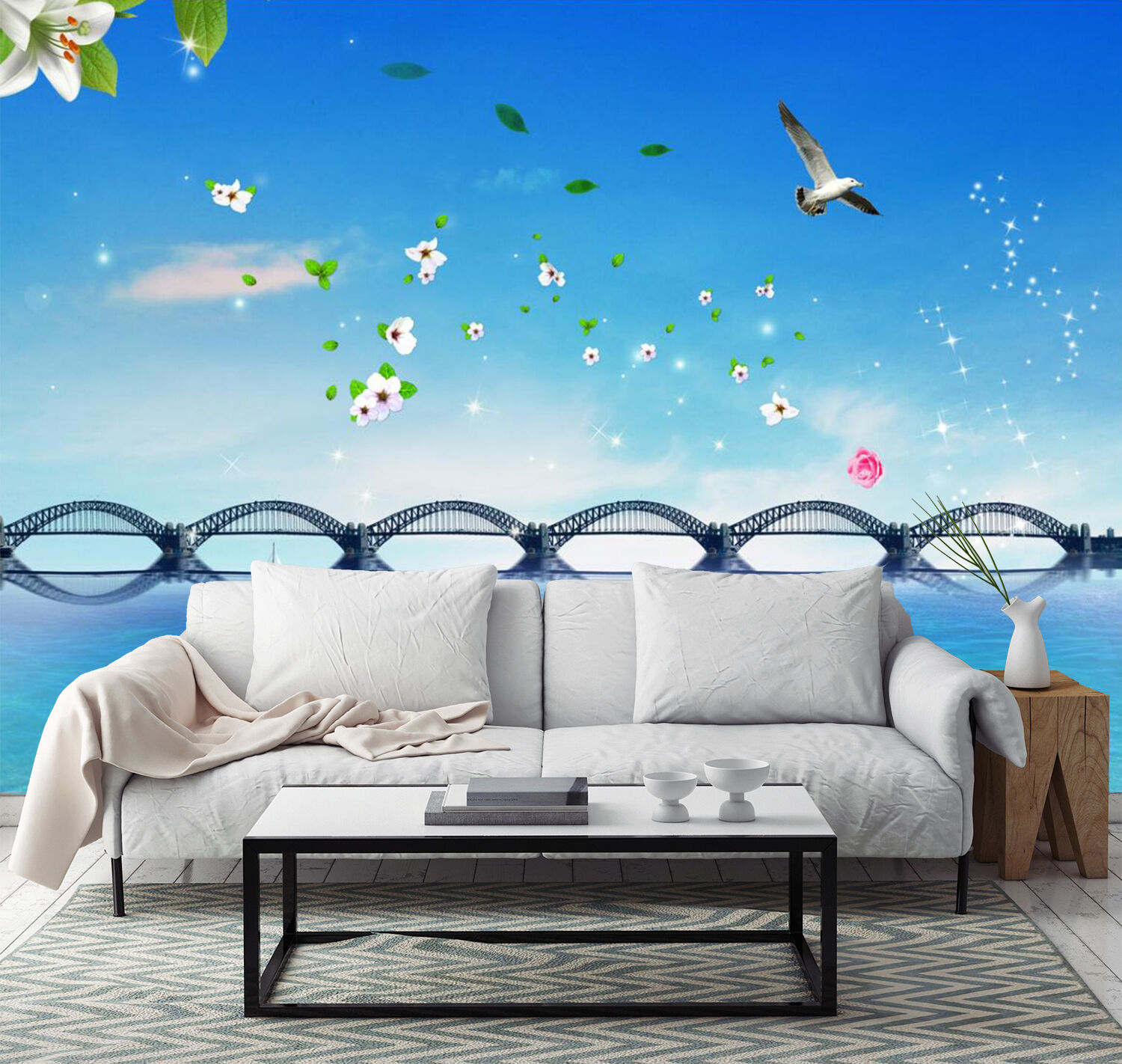 3D Bridge Flower Cartoon 4433 Wall Paper Wall Print Decal Wall AJ WALLPAPER CA