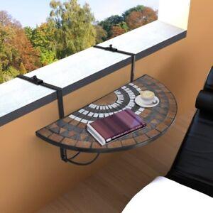Tavoli Da Balcone Pieghevoli.Dettagli Su Tavolino Tavolo Da Balcone Mosaico Pieghevole Giardino Terrazza Semicircolare