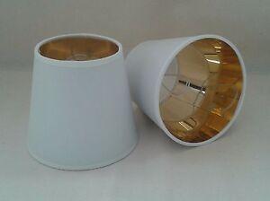 Paralume piccolo a molla in tessuto bianco oro per lampadari