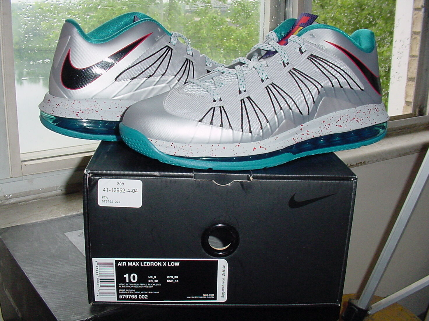Nike Air Zoom Max LeBron James X 10 Low Akron Aeros Platinum Teal xi 579765 002