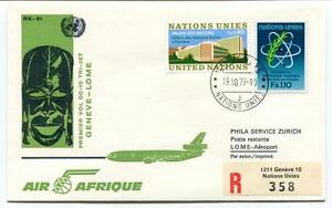 Fiable Ffc 1979 Air Afrique First Flight Dc 10 Geneve Lome Registered Zurich Onu