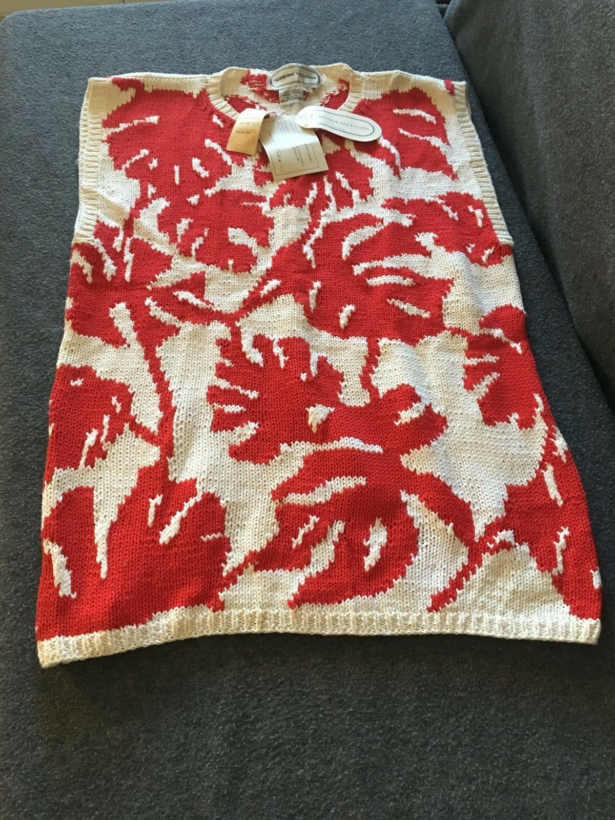 Adrienne Vittadini Chunky Knitted Sweater Women's Large Red and White