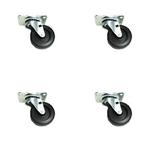 "Set Of Four Swivel Caster 3"" Hard Polyolefin Wheels 2-1/2"" x 3-5/8"" Top Plate"