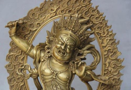 9.8 inch Rare Tibet Tibetan bronze Buddhist Vajrapani Chana Dorje buddha statue