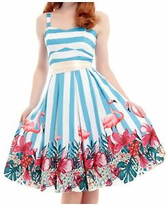 3979a15c329 Image is loading Collectif-Vintage-Antoinette-Striped-Flamingo-Dress -Rockabilly-PinUp-