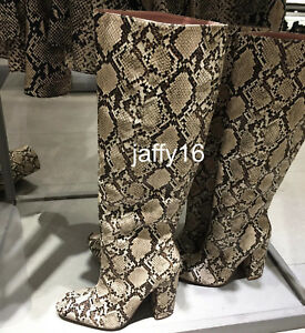 5dd3f825cae Details about ZARA NEW WOMAN SNAKESKIN PRINT HEELED BOOTS 35-42 REF.7006/301
