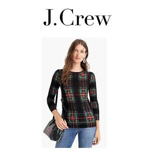 57ab99c61 J CREW Tippi Sweater Stewart Plaid RED XS LARGE X LARGE XL K4643 ...