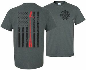 THIN-RED-LINE-FLAG-HALLIGAN-FIREFIGHTER-FIRE-DEPARTMENT-T-SHIRT-TEE-USA-HERO