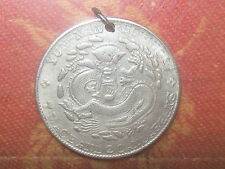OLD VINTAGE CHINESE CHINA SILVER TONE DRAGON COIN PENDANT NECKLACE JEWELRY