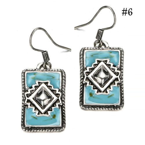 Fashion Turquoise Style Bohémien 925 Argent Femme Bijoux Dangle Boucles d/'oreilles pendantes