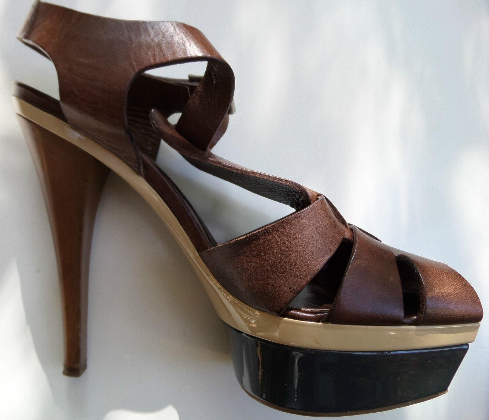 MARNI Damen Luxus Glatt Leder Highheel Sling Pump Sandalette in Gr D 40 40.5