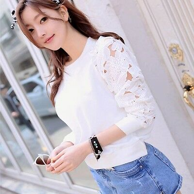 1PC Fashion Women Hollow Long Sleeve Embroidery Lace T Shirt Top Blouse Favored