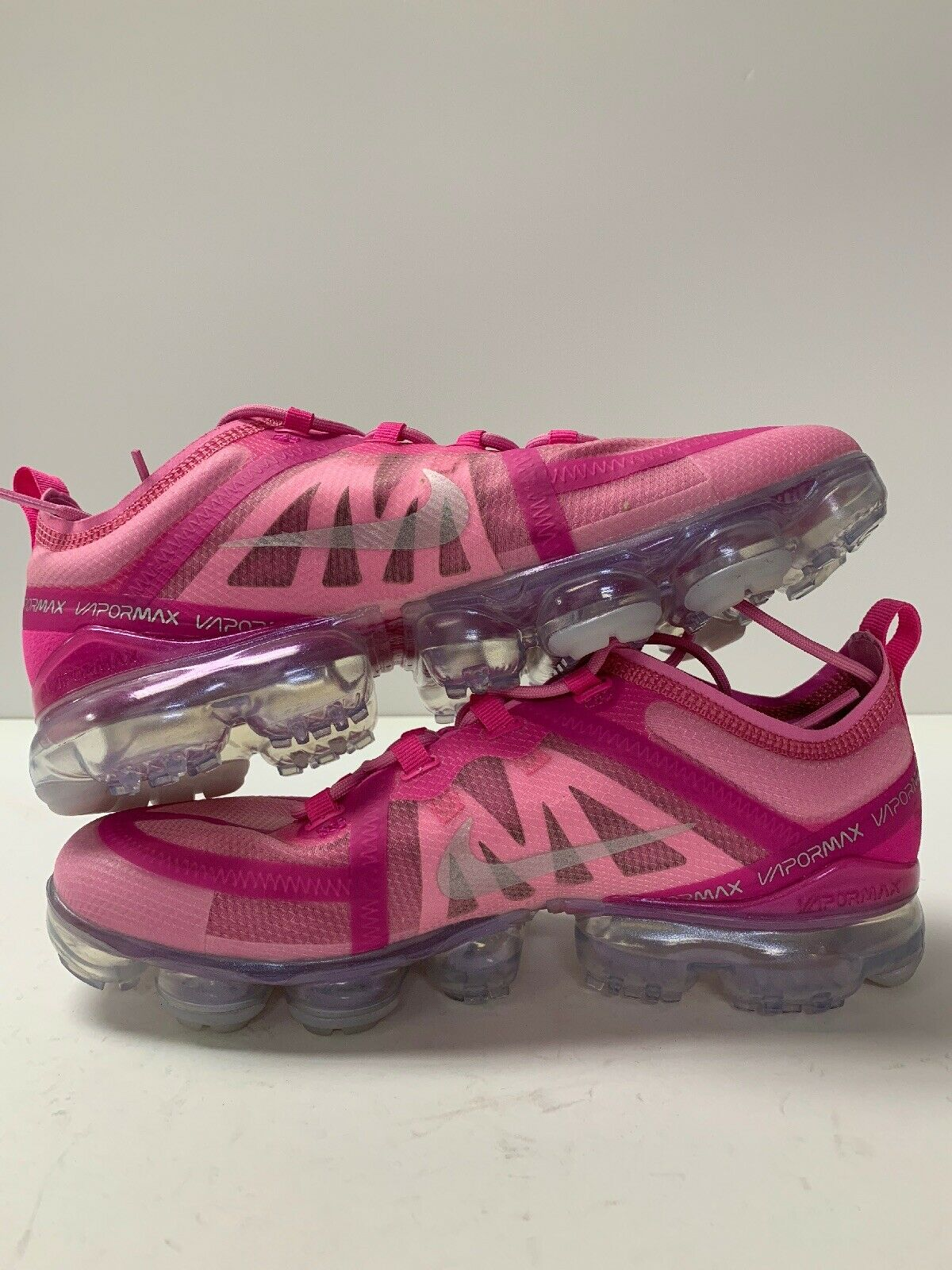 Womens 2019 Nike Vapormax AR6632-600 Active Fuchsia Pink & Metallic Silver Sz 10