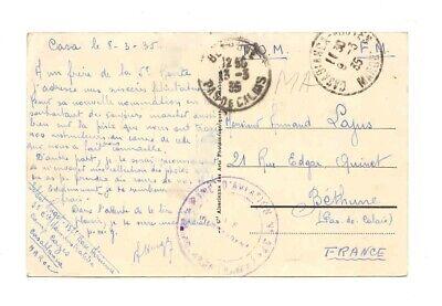 Marokko Maroc 1935 Feldpost Karte Camp Cazes > Calais Attraktive Mode