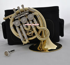 Top new gold Bb mini french horn piccolo french with mouthpiece case