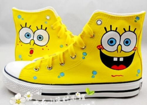 Spongebob Pattern Children Kids Hand-painted Canvas Shoes for Girls Boys Sneaker