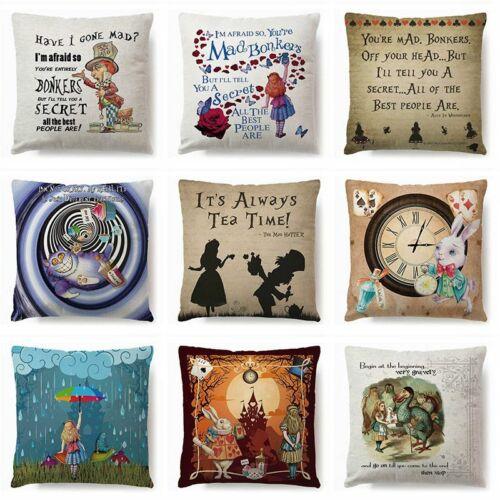 Cartoon Alice in Wonderland Cotton Linen Pillow Case Cushion Cover Home Decor