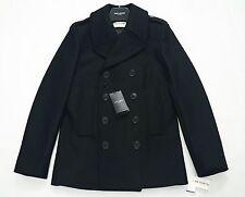 Saint Laurent Paris Negro de Lana Cruzado PEA Coat Talla IT46