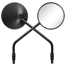 Ryde Black Round Adjustable Motorcycle Rearview Mirrors Pair 10mm Bike/Motorbike