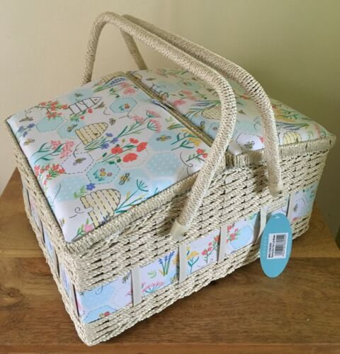 SEWING BASKET BOX /'SEWING BEE/' DESIGN LARGE TWIN LID SUPER QUALITY