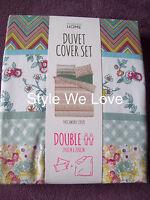 Primark Patchwork Stripe Print Duvet Cover Set Double Bed Brand