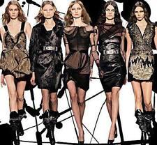$3105  SOPHIA KOKOSALAKI GENUINE Leather/Tulle RUNWAY DRESS*** US 6, EU 40