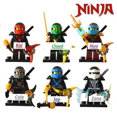 Ninjago Toy Boys Ninja Mini Figures X 6 Kai,Cole,Lloyd,Nya,Jay /& Zane fit lego A