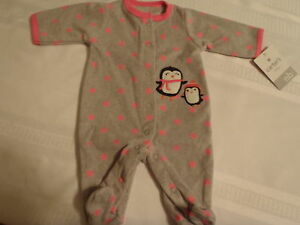 7f3396fe4 Carters Newborn Polyester Fleece Penguin Footed Pajama Sleepwear NWT ...